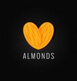 almonds organic logo design background vector image