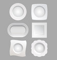 white plates set isolated on vector image