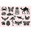 animal symbols set vector image vector image