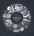 autumn harvest festival design on chalkboard vector image vector image