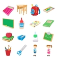 Back to school icons set cartoon style vector image vector image