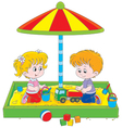 Children play in a sandbox vector image vector image