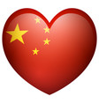 china flag in heart shape vector image