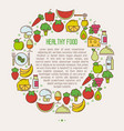concept organic food in circle vector image vector image