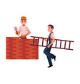 construction workers builders - building brick vector image