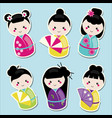 cute kawaii kokeshi dolls stickers set vector image vector image