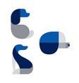 dog pet blue logo icon design set vector image