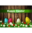 Easter Card with Wood texture vector image vector image