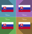 Flags Slovakia Set of colors flat design and long vector image