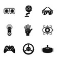futuristic reality icons set simple style vector image vector image