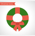 green christmas wreath with red ribbon vector image