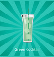 green cocktail with ice cubes vector image vector image