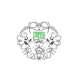 green tea vintage stylized lettering badge vector image