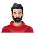 guy with a full beard in red shirt on white vector image vector image