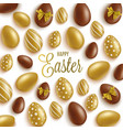 happy easter greeting card with gold and brown vector image vector image