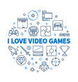 i love video games round concept linear vector image vector image