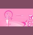 international womens day card pink flower bird vector image vector image