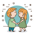kids in love cartoon vector image
