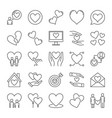 love outline icons set collection of heart vector image vector image
