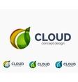 Modern cloud logo set vector image vector image