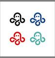 octopus logo kraken icon line art outline vector image