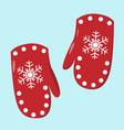pair of red mittens vector image vector image