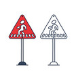 pedestrian crossing warning sign red triangle vector image