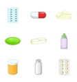 Pharmacy and drug symbols icons set cartoon style vector image vector image