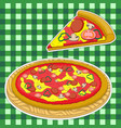 pizza and a slice of pizza on a green caged vector image vector image