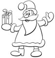 santa claus with christmas present coloring book vector image vector image