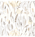 seamless pattern of herbs plants flowers vector image