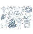 set hand drawn christmas elements vector image