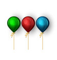 set realistic balloons matte blue red and blue vector image vector image