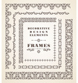 set retro vintage frames and borders vector image