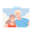 shot happy young couple making selfie using vector image vector image