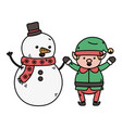 snowman and elf holding hands decoration merry vector image vector image