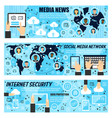 social media network and internet news banners vector image