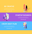 startup business creative plan colorful banner set vector image vector image