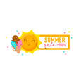 summer sale banner with cute sun eating ice cream vector image vector image