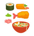 sushi rolls and japanese cuisine food snacks vector image