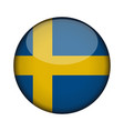 sweden flag in glossy round button of icon sweden vector image