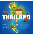 Thailand Cultural Symbols Flat Map Poster vector image vector image