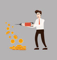 the businessman character holds a jackhammer in vector image vector image