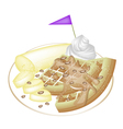 Tradition Waffle with Banana and Whipped Cream vector image vector image