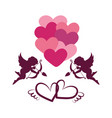 valentines day card with hearts angel and arrows vector image