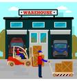 Warehouse Building Cargo Industry Worker Forklift vector image vector image