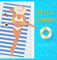 woman in hat sunbathing on the beach towel near vector image
