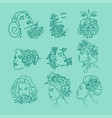 women faces with flowers on head continuous line vector image vector image