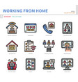 work from home icon set vector image vector image