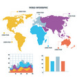 world map infographic information report network vector image vector image